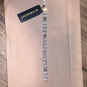 Silver-Tone Crystal Double-Row Flex Bracel…